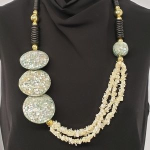 Vintage Mother of Pearl and Abalone Statement Neck